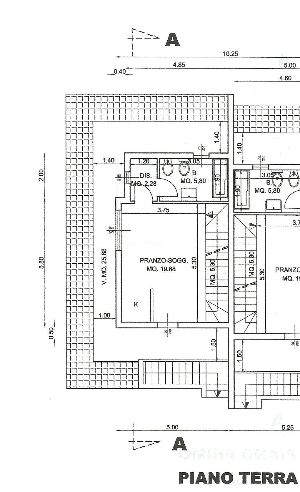 Porzione di villino in bifamiliare al grezzo wall street for Software di piano terra residenziale